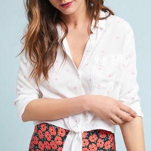 Anthropologie Heart-print tie-waist Blouse NWT L